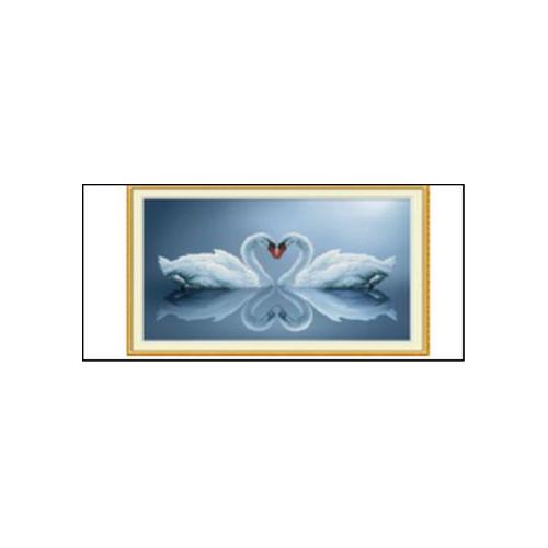 Zakochane łabędzie - diamond painting