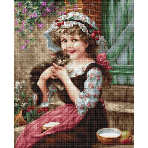 Mała dziewczynka z kotkiem