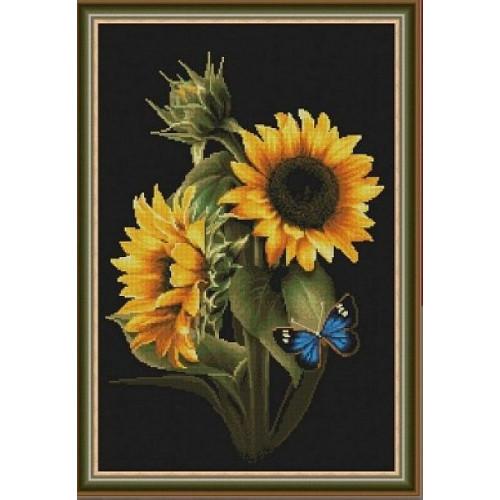Słoneczniki i motylek