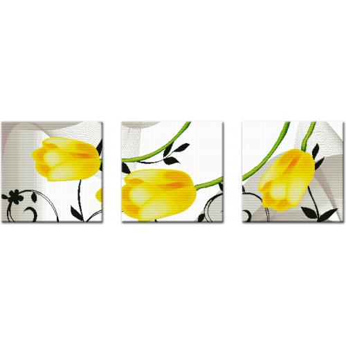Tryptyk żółte tulipany