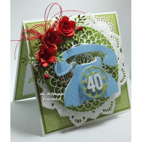 Kartka ręcznie robiona 40 urodziny, aisab, haft pasja, wykrojnik, kwiaty