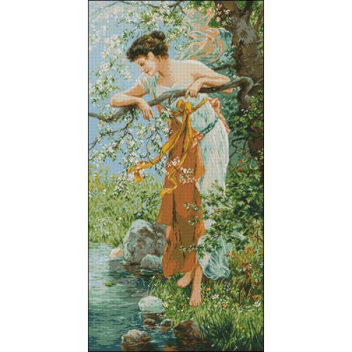 Kobieta przy gałęzi