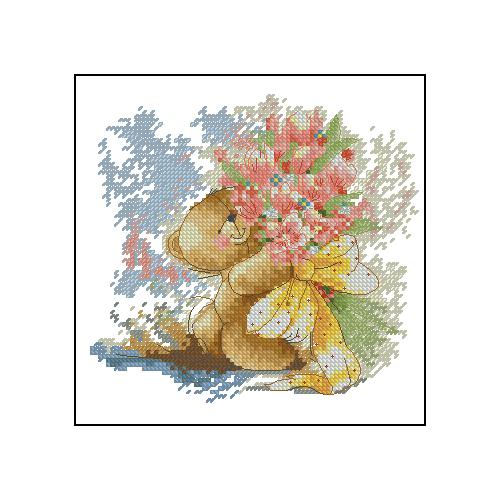 Miś z kwiatami