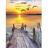 Zestaw do diamond painting - zachód słońca przy moście