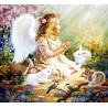 Zestaw do diamond painting -  aniołek z króliczkami