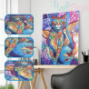 Zestaw do diamond painting shaped -kot kolorowy