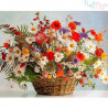 Malowanie po numerach - Wiosenne kwiaty w koszu