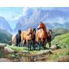 Zestaw do diamond painting - dzikie konie w górach