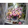 Zestaw do diamond painting - Kwiaty w oknie