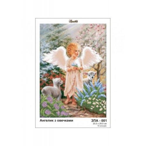Aniołek z owieczkami  wzór do haftu kolralikowego