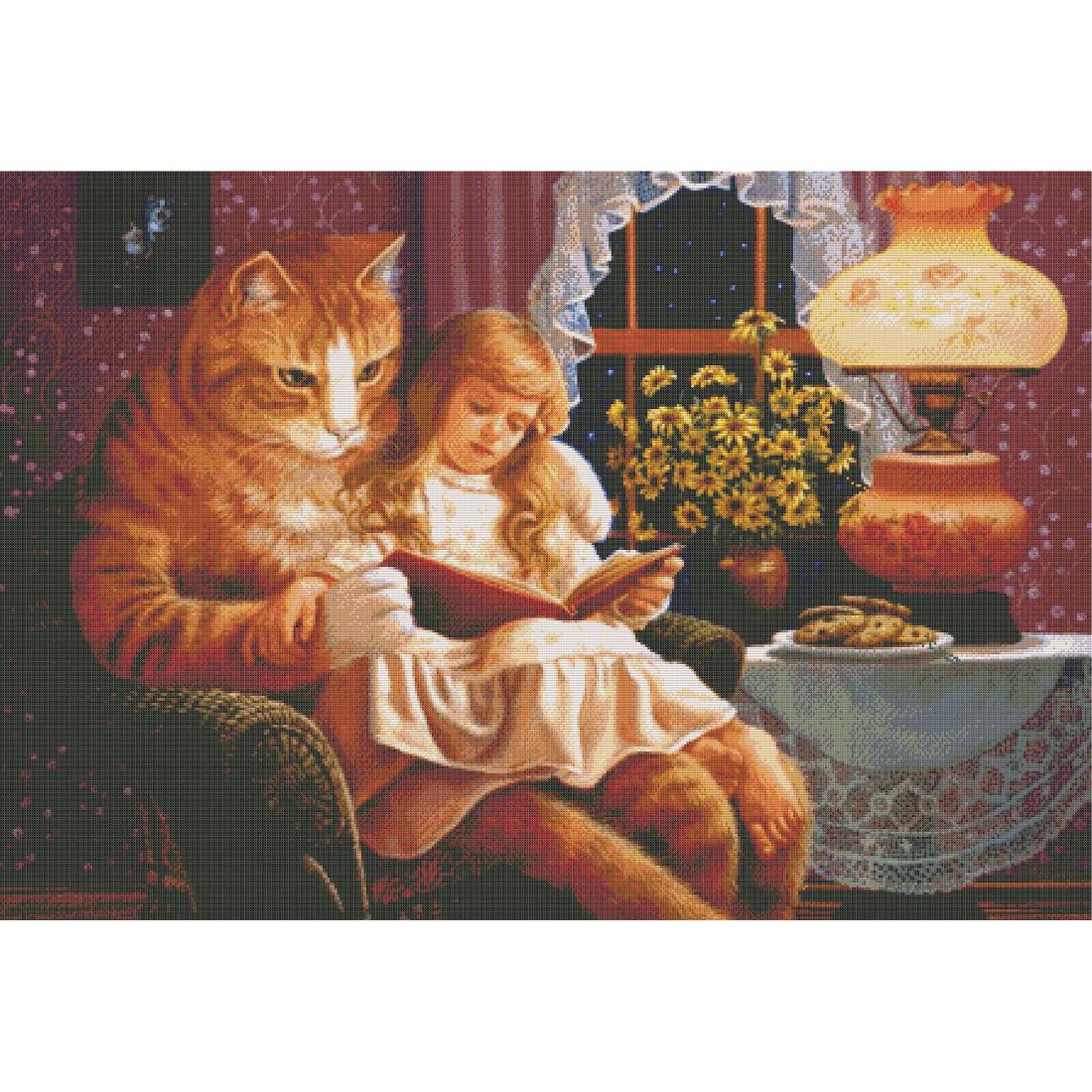 Kot czytający bajkę