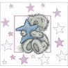 Miś z kwiatkiem niebieskim